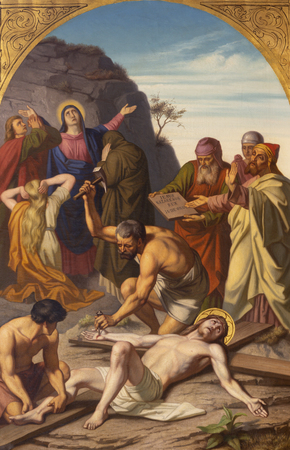 PRAGUE, CZECH REPUBLIC - OCTOBER 15, 2018: The painting Jesus is nailed to the cross (cross way station) in church Bazilika svatého Petra a Pavla na Vyšehrade by František Čermák (1822 - 1884). Editoriali