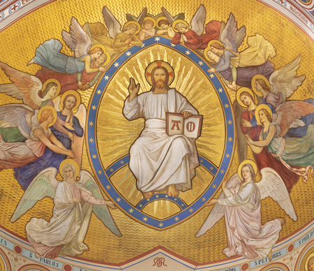 PRAGUE, CZECH REPUBLIC - OCTOBER 17, 2018: The fresco of Christ the Pantokrator among the angels by Josef Matyas Trenkwald and Gustav Vacek (second half of the 19th cent.)