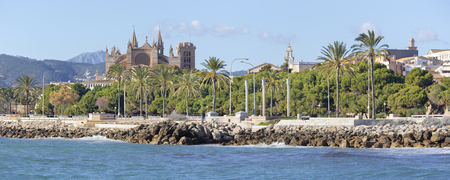 Palma de Mallorca - The waterfront and the cathedral La Seu in the background. Stock fotó