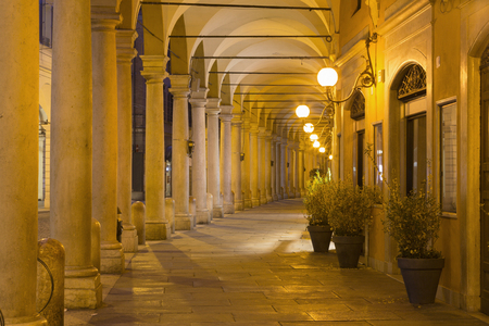 Modena - The porticoes of old town in the morning.