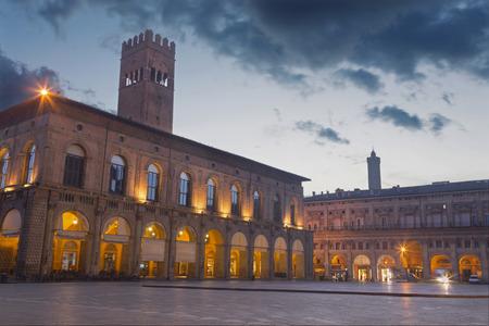 Bologna - The palace Palazzo del Podesta at dusk.