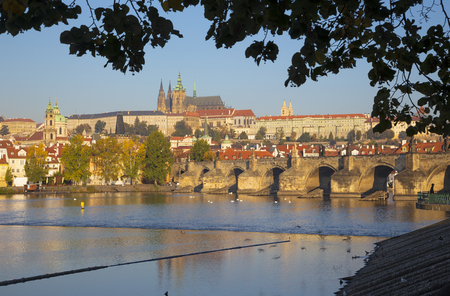 Prague - The  Charles Bridge, Castle and Cathedral withe the Vltava river. Editorial
