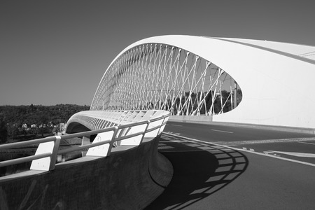 Prague - The modern arched bridge Trójský most.