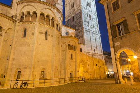 Modena - The Duomo (Cattedrale Metropolitana di Santa Maria Assunta e San Geminiano) at dusk.