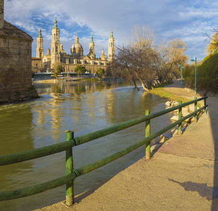 Zaragoza - The Basilica del Pilar with the riverside of Ebro river in the morning light.