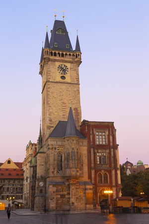 Prauge - The Old Town hall in the morning dusk.