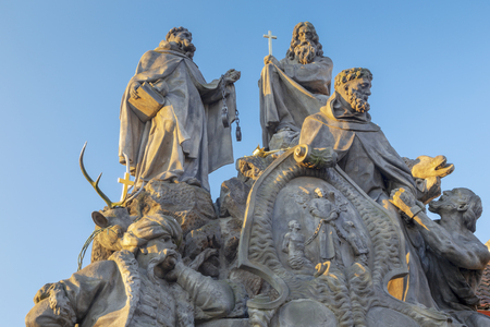 Prague The baroque statues of John of Matha, Felix of Valois and Saint Ivan on the  Charles Bridge by Ferdinand Brokoff