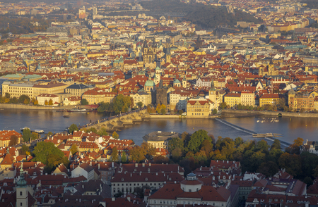 Prague - The cityscape with the Charles bridge on Olt Town in morning light.