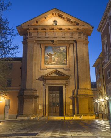 Reggio Emilia - The facade of chruch Chiesa di San Franceso with the mosaic of Stigmatisation. Imagens