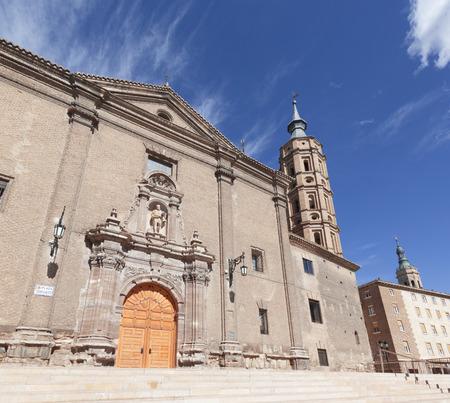 Zaragoza - The baroque portal of church Iglesia de San Juan de los Panetes.