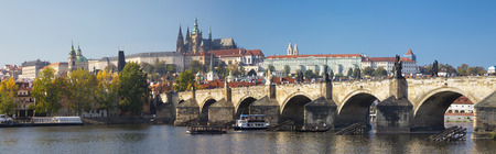PRAGUE, CZECH REPUBLIC - OCTOBER 11, 2018:The panorama of Charles Bridge, Castle and Cathedral withe the Vltava river.