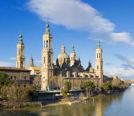 Zaragoza - The Basilica del Pilar over the Ebro river in the morning light.