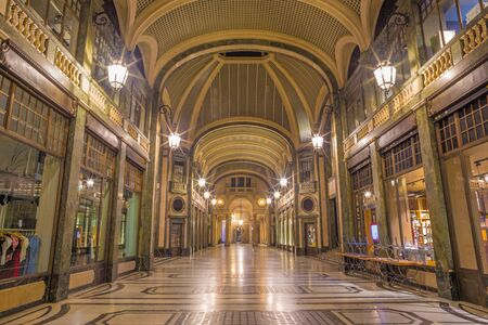 Turin - The shopping gallery at night. Imagens