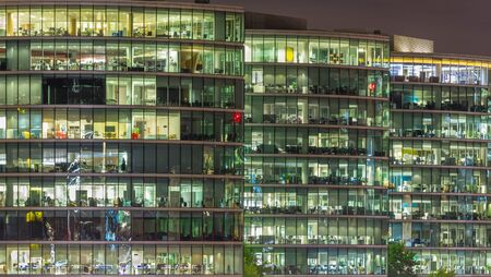 London - The offices on the riverside at night.