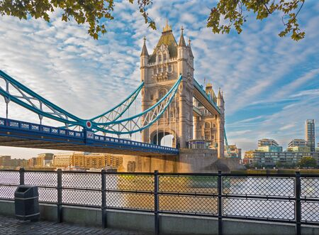 London - The  Tower bridge and Thames riverside in morning light.