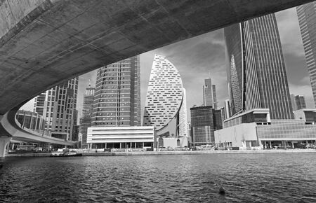 Dubai - The bridge of new Canal and skyscrapers.