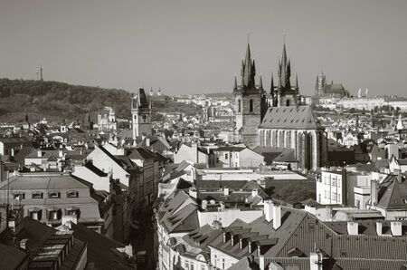 Prague - The view overt the City with the Church of Our Lady before Týn and Castle with the Cathedral in the background.
