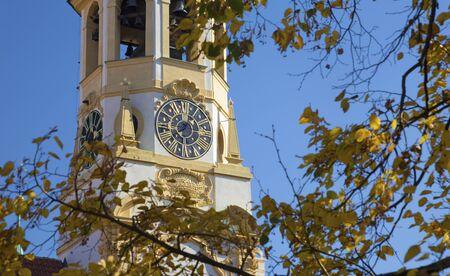 Prague - The Loreto baroque church and autumn tree.