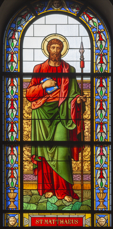 PRAGUE, CZECH REPUBLIC - OCTOBER 13, 2018: The apostle Saint Matthew the Evangelist in the stained glass of the church kostel Svatého Václava  (end of 19. cent).