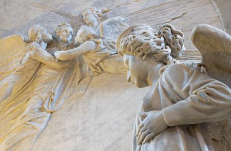 CATANIA, ITALY - APRIL 7, 2018: The detail of funeral monuments of opera composer Vincenzo Bellini in Cattedrale di SantAgata by Giovanni Battista Tassara (1876).