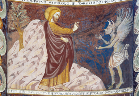 """COMO, ITALY - MAY 9, 2015: The old fresco of Entry of Jesus to Jerusalem (Palm Sundy) in church Basilica di San Abbondio by unknown artist """"Maestro di Sant'Abbondio"""" (1315 - 1324)."""