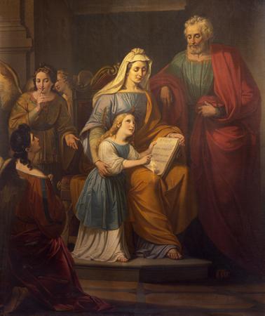 Reggio Emilia, Włochy - 14 kwietnia 2018: Obraz św. Joachima, mała Dziewica Maryja i św. Ann w kościele chiesa di San Francesco Publikacyjne