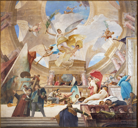 VIENNA, AUSTRIA - JUNY 30, 2018: The fresco Glorification of the Renaissance in hall of The Knsthistorisches museum by Mihály Munkácsy (1844 - 1900). 報道画像