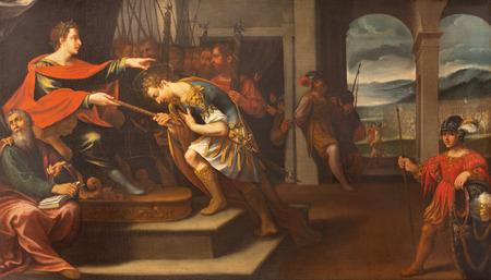 MODENA, ITALY - APRIL 14, 2018: The painting from live and martyrdom of St. Sebastian in church Chiesa di Santa Maria della Pomposa by Bernardino Cervi from 17. cent. Sajtókép