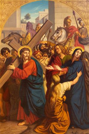 Praga, Republika Czeska - 15 października 2018 r.: Obraz Jezusa spotyka swoją matkę w kościele Bazilika svatého Petra a Pavla na Vyehrade autorstwa FrantiÅ¡ek ĘŒermák (1822-1884)