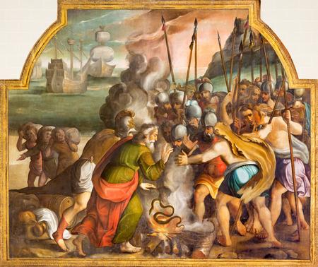 ZARAGOZA, SPAIN - MARCH 3, 2018: The biblical scene withe St. Paul and the viper in Malta in the church Iglesia de San Pablo by Antonio Glaceran and Jeronimo de Mora (1596). Editorial