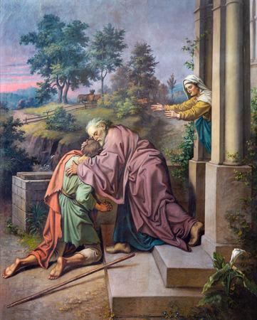 PRAGUE, CZECH REPUBLIC - OCTOBER 18, 2018: The fresco of scene comeback of Prodigal son in the church of St. Ignace by Jan Umlauf (1875).