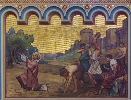 PRAGUE, CZECH REPUBLIC - OCTOBER 17, 2018: The stoning of St. Stephen freso in the church kostel Svatého Cyrila Metodeje by  S. G. Rudl (1896).