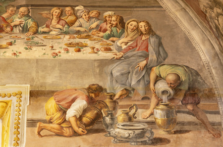 ACIREALE, ITALY - APRIL 11, 2018: The detail of fresco of The miracle at the wedding at Cana in Duomo by Pietro Paolo Vasta (1735-1739).