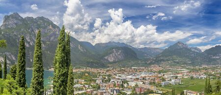 The panorama of Riva del Garda and Lago di Garda lake.