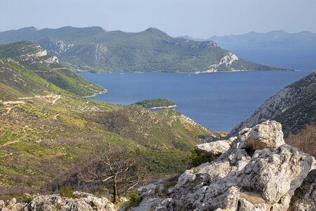 Croatia - The landscape and the coast of Peliesac peninsula near Zuliana from Sveti Ivan peak.