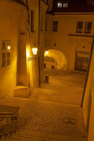 Prague - The porticoes and aisles on the Mala Strana quarter at night.