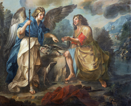 CATANIA, ITALY - APRIL 7, 2018: The  detail of painting of Tobias and archangel Raphael in church Chiesa di San Benedetto by Matteo Desiderato (1780). Éditoriale