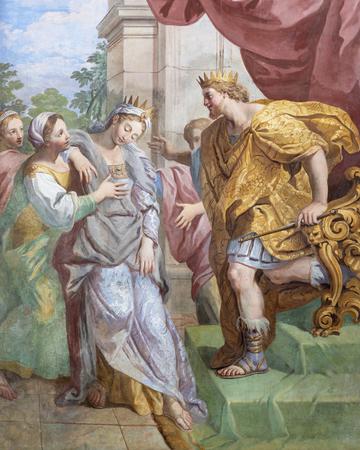 ACIREALE, ITALIE - 11 AVRIL 2018 : La fresque de David et Abigail à l'église Chiesa di San Camillo par Pietro Paolo Vasta (1745 - 1750).