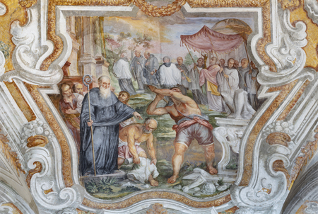 CATANIA, ITALY - APRIL 7, 2018: The vault fresco from live of Saint Benedict in church Chiesa di San Benedetto by Giovanni Tuccari (1667–1743). Stockfoto - 133113112