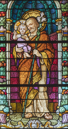 ARCO, ITALY - JUNE 8, 2018: The St. Joseph in the stained glass in the church Collegiata dell'Assunta.