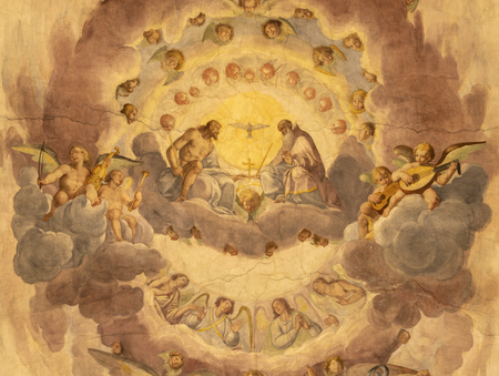 COMO, ITALY - MAY 11, 2015: The ceiling fresco of Holy Trinity in church Chiesa di San Orsola by Gian Domenico Caresana (1616). Sajtókép
