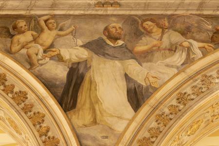 ACIREALE, ITALY - APRIL 11, 2018: The fresco of St. Dominic in Duomo by Giuseppe Sciuti (1907).