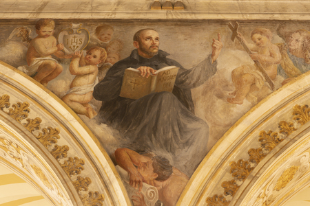 ACIREALE, ITALY - APRIL 11, 2018: The fresco of St. Ignace of Loyola in Duomo by Giuseppe Sciuti (1907). Stockfoto - 133113213