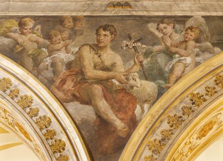 ACIREALE, ITALY - APRIL 11, 2018: The fresco of St. John the Baptist in Duomo by Giuseppe Sciuti (1907). Editorial