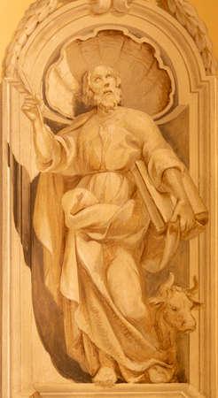 COMO, ITALY - MAY 8, 2015: The fresco of St. Luke the Evangelist in church Santuario del Santissimo Crocifisso.