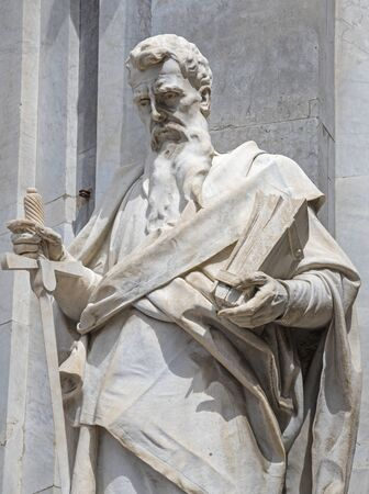 CATANIA, ITALY - APRIL 8, 2018: The statue of St. Paul the Apostle in front of Basilica di Sant'Agata.