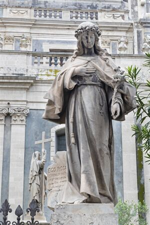 CATANIA, ITALY - APRIL 7, 2018: The statue of St. Lucy in front of Basilica di Sant'Agata.