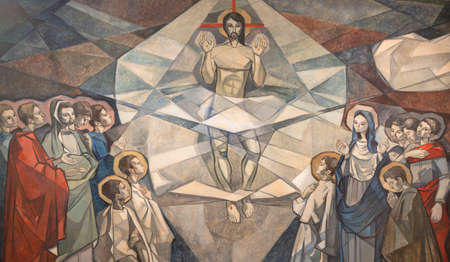 BARCELONA, SPAIN - MARCH 5, 2020: The modern fresco of Ascension of the Lord in church Santuario Maria Auxiliadora i Sant Josep by Fidel Trias Pages and Raimon Roca (1966).