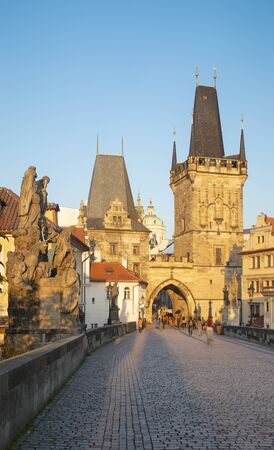 Prague - The west tower of Charles Bridge in the morning light.