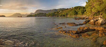 Croatia - The coast of Peliesac peninsula near Zuliana village in suset light.